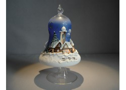 Bell on a candle 12cm with a stand, in blue, www.sklenenevyrobky.cz