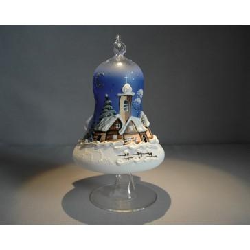 Vánoční zvon na svíčku 120mm + stojan modrý