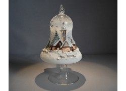 Bell on a candle 12cm with a stand, in white www.sklenenevyrobky.cz