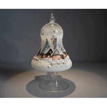Vánoční zvon na svíčku 120mm + stojan bílý