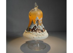 Bell on a candle 12cm with a stand, in orange, www.sklenenevyrobky.cz