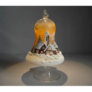 Vánoční zvon na svíčku 120mm + stojan oranžový
