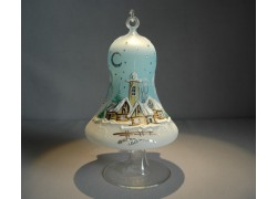 Christmas bell on candle 12cm with stand, in light blue color www.sklenenevyrobky.cz