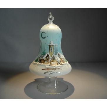 Vánoční zvon na svíčku 120mm + stojan světle modrý