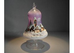 Christmas bell on candle 12cm with stand, in pink color www.sklenenevyrobky.cz