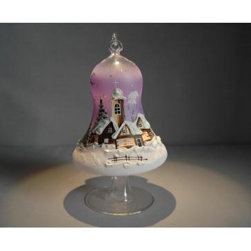 Vánoční zvon na svíčku 120mm + stojan fialový