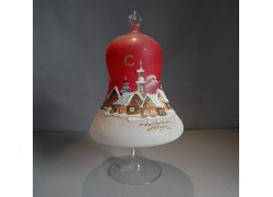 Christmas bell on a candle 15cm with a stand, in red www.sklenenevyrobky.cz