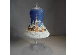 Christmas bell on candle 15cm with stand, in blue www.sklenenevyrobky.cz