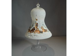 Christmas bell on a candle 15cm with a stand, in white www.sklenenevyrobky.cz