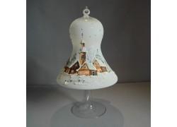 Vánoční zvon na svíčku 150mm + stojan, bílý www.sklenenevyrobky.cz
