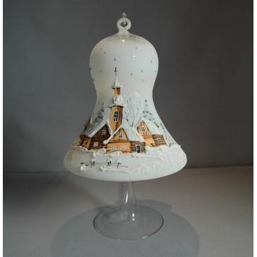 Vánoční zvon na svíčku 150mm + stojan bílý