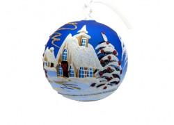 Christmas ball 10cm, decor retro christmas, blue www.sklenenevyrobky.cz