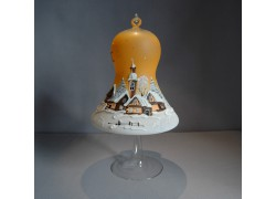 Bell on a candle 15cm with a stand, in orange www.sklenenevyrobky.cz