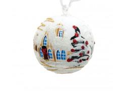 Christmas ball 10cm, decor retro christmas, white www.sklenenevyrobky.cz