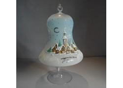 Vánoční zvon na svíčku 150mm + stojan světle modrý