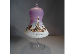 Bell on a candle 15cm with a stand, purple www.sklenenevyrobky.cz