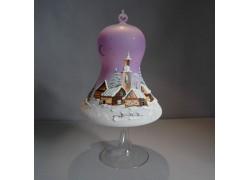 Vánoční zvon na svíčku 150mm + stojan fialový