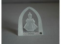 Pražské Jezulátko matované sklo plaketa