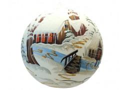 Christmas ball with Christmas painting 20 cm www.sklenenevyrobky.cz