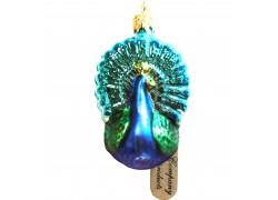 Christmas ornament small peacock in blue www.sklenenevyrobky.cz
