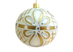 Christmas ball 10 cm decorated with dusting and painting www.sklenenevyrobky.cz