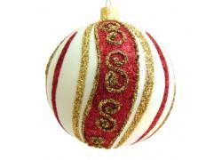 Vánoční koule 10 cm zdobená posypem a malbou www.sklenenevyrobky.cz