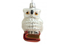 Christmas ornament, white owl with book