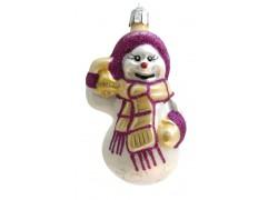Vianočná ozdoba Snehuliak so šálom a zvončekom