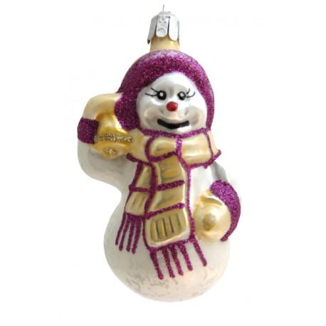 Vánoční ozdoba Sněhulák68, Šála a zvonek II 9x5x5 cm