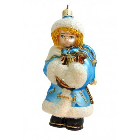 Vánoční ozdoba anděla s harfou v modrém dekoru www.sklenenevyrobky.cz