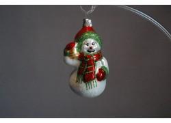 Vánoční ozdoba Sněhulák68, Šála a zvonek I 9x5x5 cm