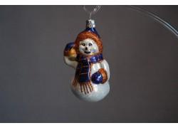 Vánoční ozdoba Sněhulák68, Šála a zvonek III 9x5x5 cm