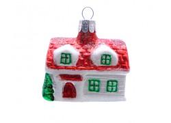 Vánoční ozdoba Domek 1028 dlouhý červený 4,5x6x4 cm
