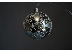Christmas ornament, balls 6cm inched silver 691 www.sklenenevyrobky.cz
