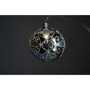 Vánoční ozdoba691 Koule vpichovaná stříbrná 8cm