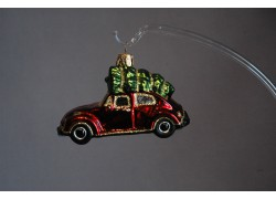 Christmas car ornament with Christmas tree, VW Beetle