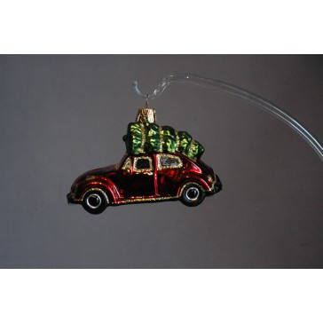 Vánoční ozdoba auto s vánoční stromkem, vw beetle www.sklenenevyrobky.cz