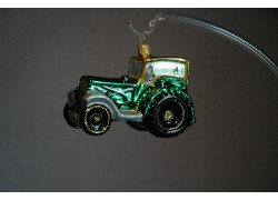 Christmas ornament tractor in green decor