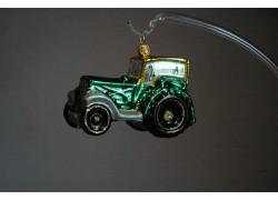 Vianočná ozdoba traktor v zelenom dekore