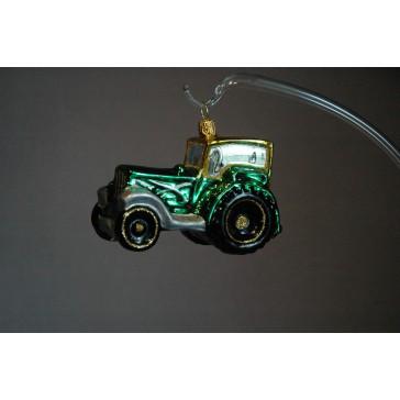 Vánoční ozdoba traktor v zeleném dekoru www.sklenenevyrobky.cz