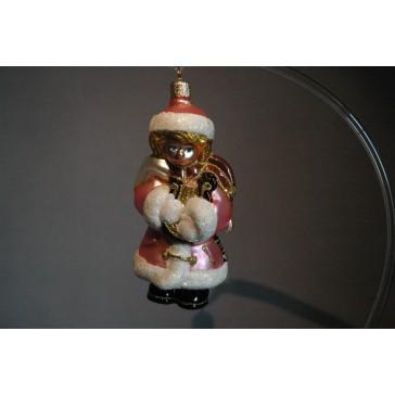 Vánoční ozdoba anděl s harfou v růžovém dekoru www.sklenenevyrobky.cz