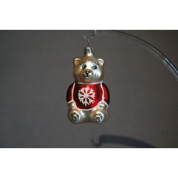 Vánoční ozdoba Medvídek sedící červený/vločka