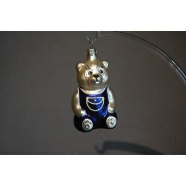 Vánoční ozdoba Medvídek sedící modrý/kapsa