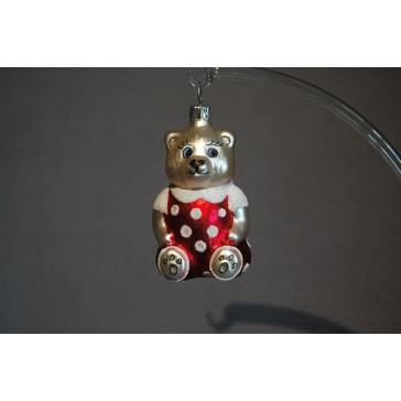 Vánoční ozdoba Medvídek sedící červený/puntíky
