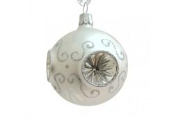 Vánoční koulička 60mm stříbrná píchaná 2049