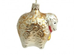 Christmas ornament sheep with golden decor