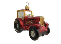 Christmas ornament tractor in red decor