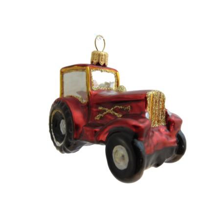 Vánoční ozdoba traktor v červeném dekoru www.sklenenevyrobky.cz