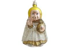 Christmas ornament of Prague Infant Jesus in white dress