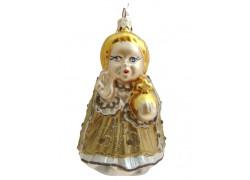 Christmas ornament of Prague Infant Jesus in gold dress